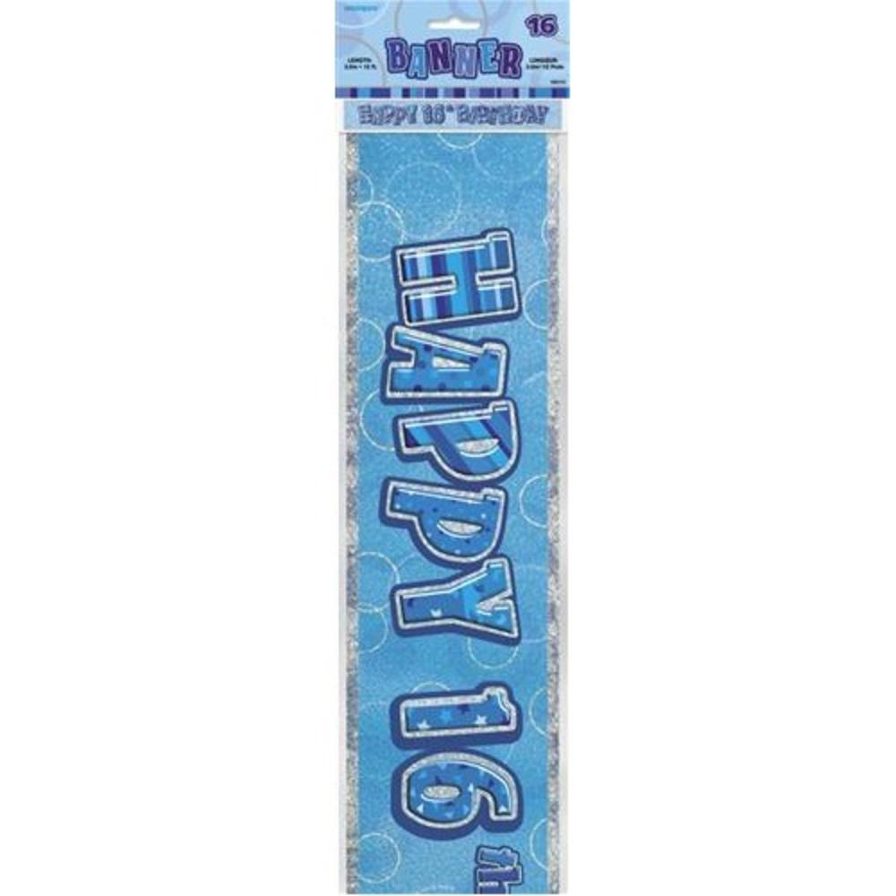 Blue Glitz Happy 16th Birthday 12ft Party Banner