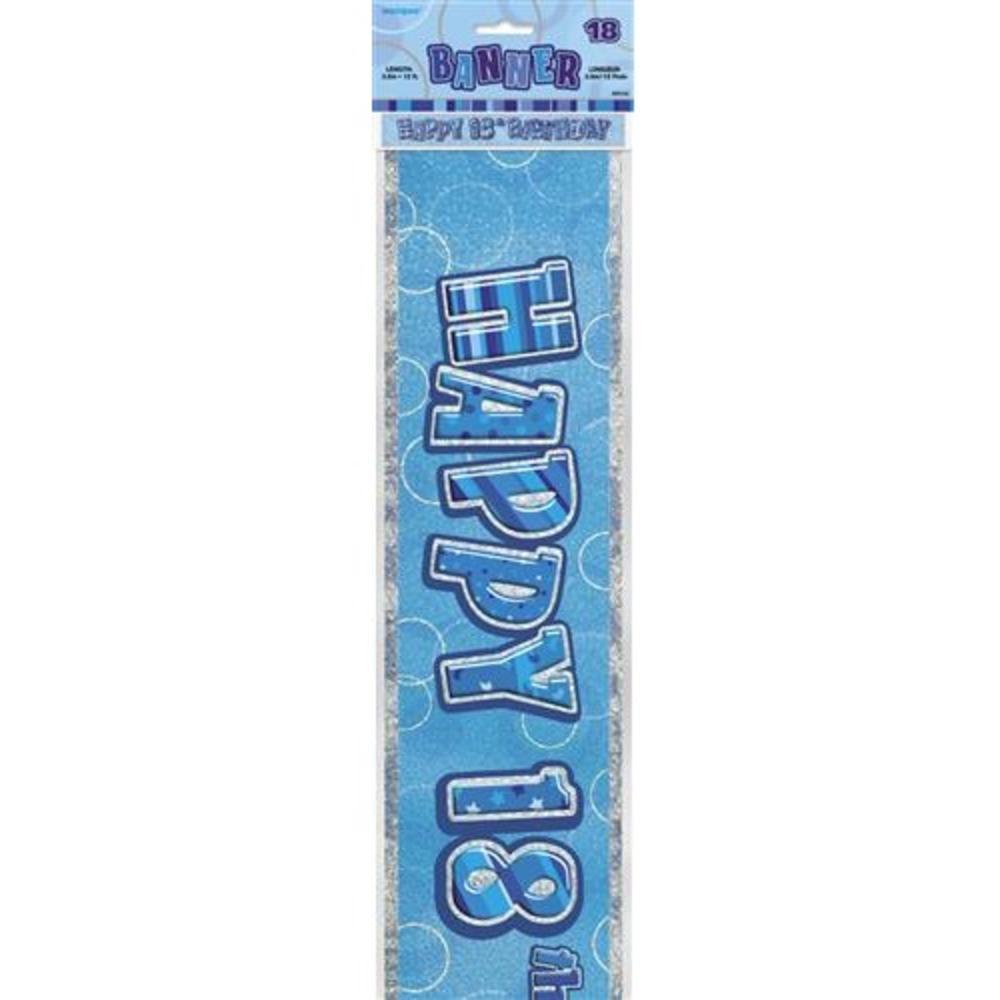 Blue Glitz Happy 18th Birthday 12ft Party Banner