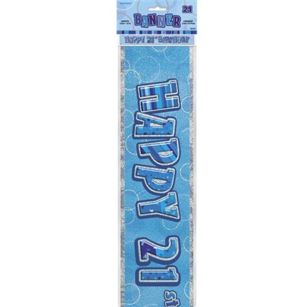 Blue Glitz Happy 21st Birthday 12ft Party Banner