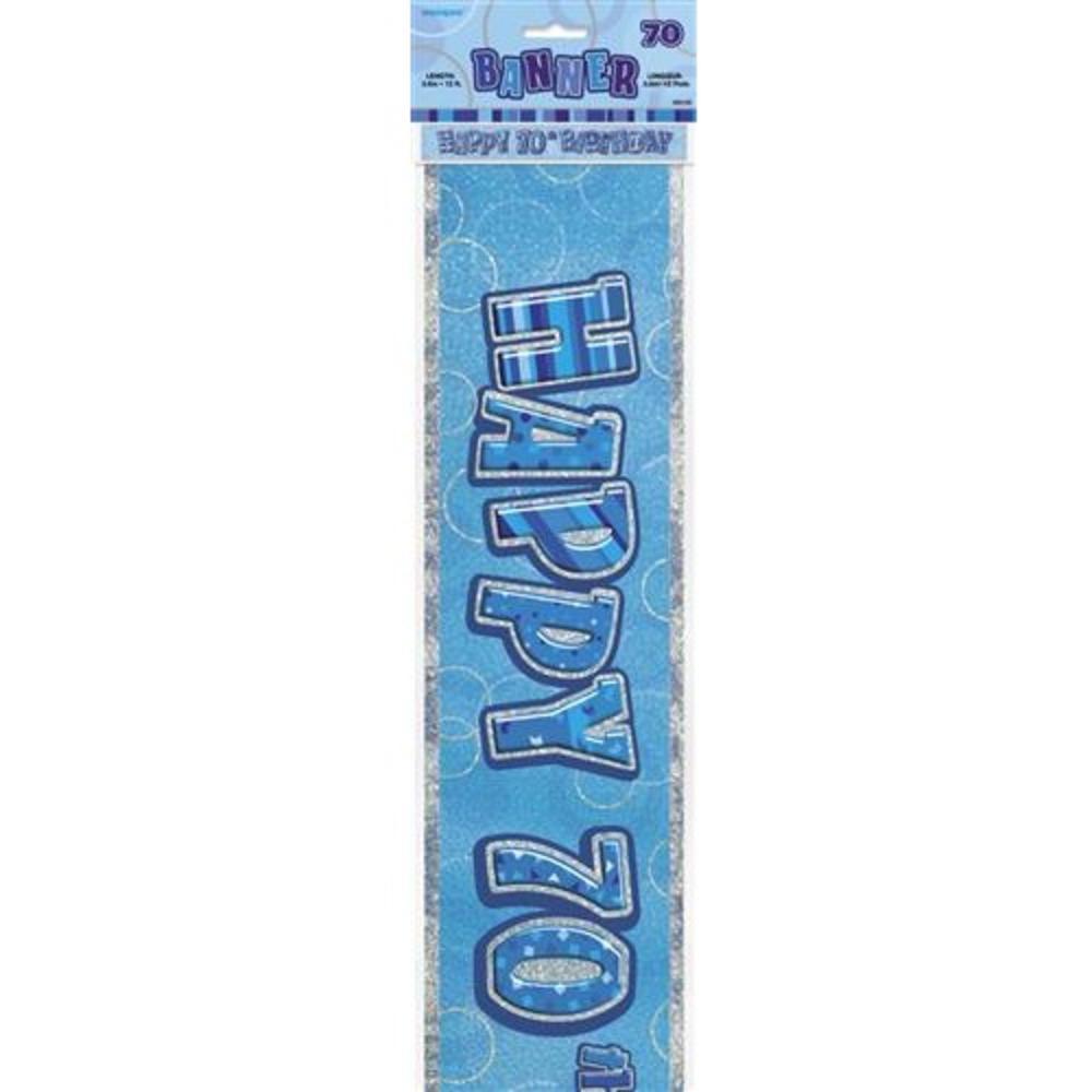 Blue Glitz Happy 70th Birthday 12ft Party Banner