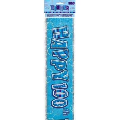 Blue Glitz Happy 100th Birthday 12ft Party Banner