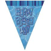 Blue Glitz Happy Birthday Flag Banner