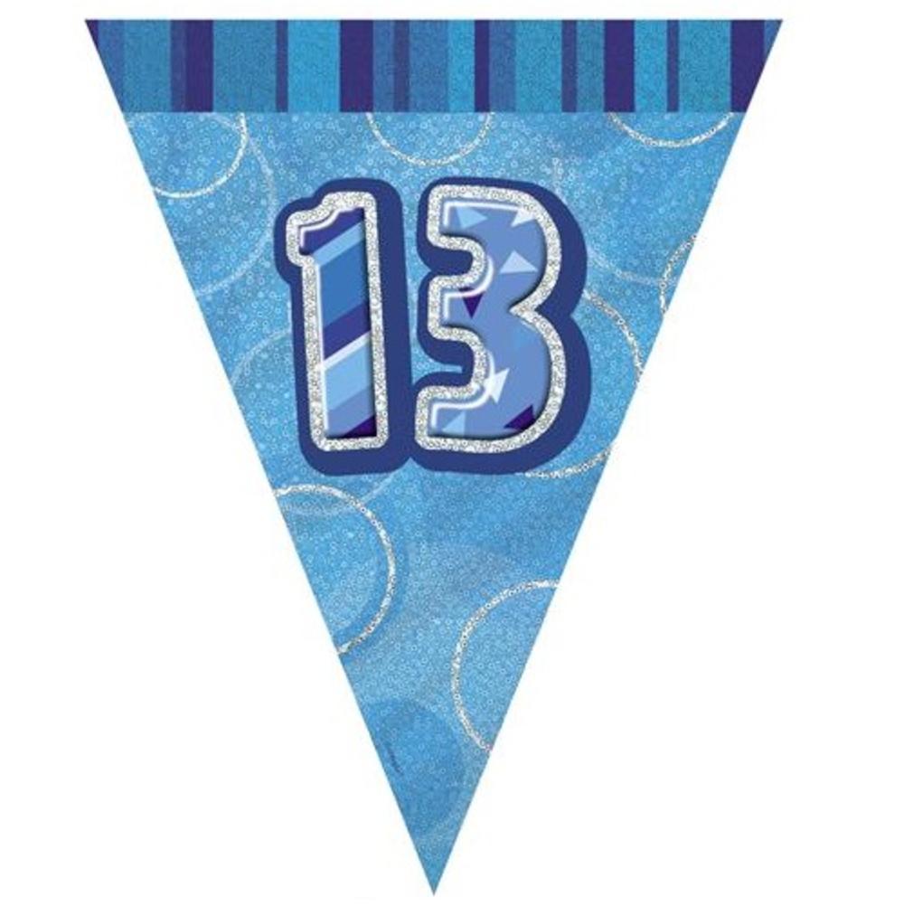 Blue Glitz 13 Flag Banner