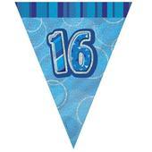 Blue Glitz 16 Flag Banner