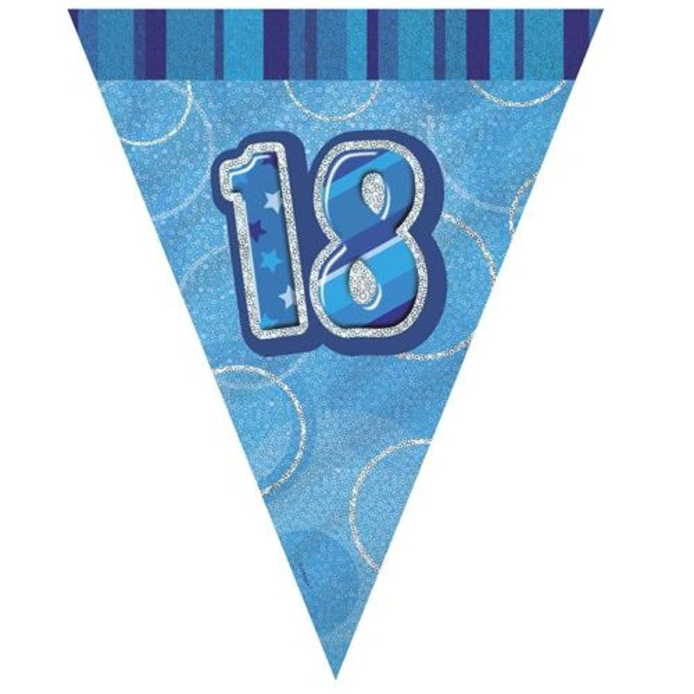 Blue Glitz 18 Flag Banner