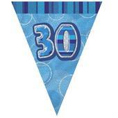 Blue Glitz 30 Flag Banner