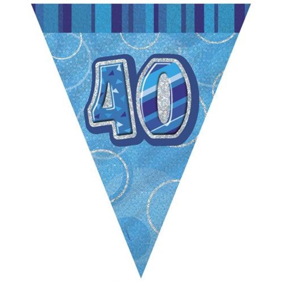 Blue Glitz 40 Flag Banner
