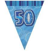 Blue Glitz 50 Flag Banner