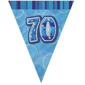 Blue Glitz 70 Flag Banner