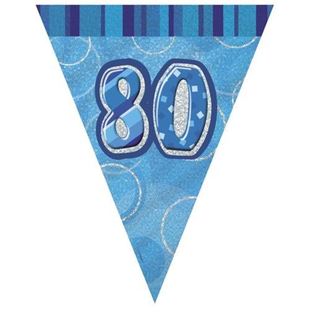 Blue Glitz 80 Flag Banner