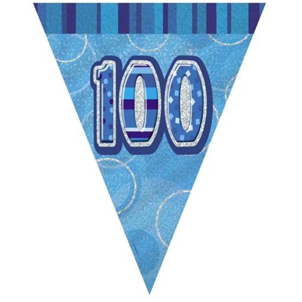 Blue Glitz 100 Flag Banner