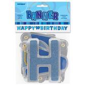 Blue Glitz Happy Birthday Banner Party Decorations