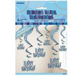 Blue Glitz Happy Birthday Hanging Swirl Decorations