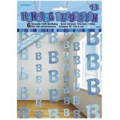 Blue Glitz 13th Birthday Hanging Decorations