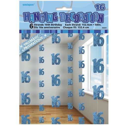 Blue Glitz 16th Birthday Hanging Decorations