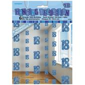 Blue Glitz 18th Birthday Hanging Decorations