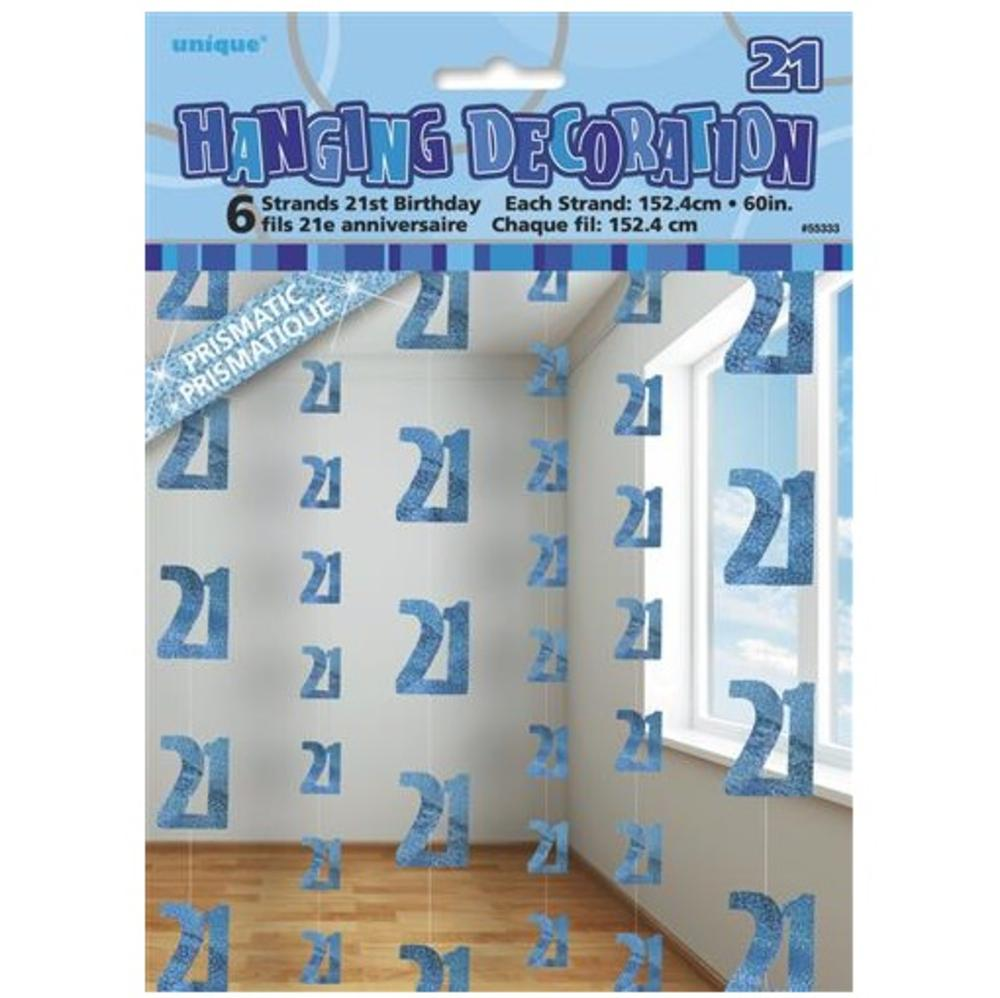 Blue Glitz 21st Birthday Hanging Decorations
