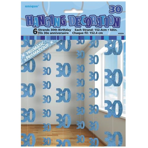 Blue glitz 30th birthday hanging decorations banners for 30th birthday decoration packs