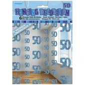 Blue Glitz 50th Birthday Hanging Decorations