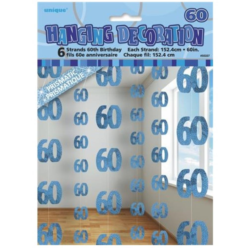 Blue Glitz 60th Birthday Hanging Decorations