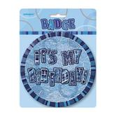 "Blue Glitz It's My Birthday Giant 6"" Birthday Badge"