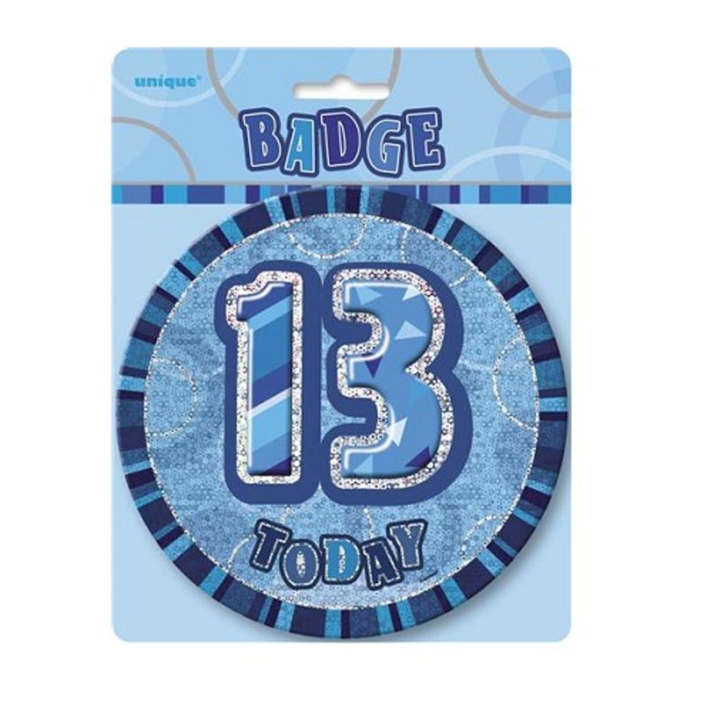 "Blue Glitz 13 Today 6"" Giant 13th Birthday Badge"