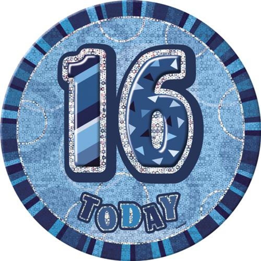 "Blue Glitz 16 Today 6"" Giant 16th Birthday Badge"