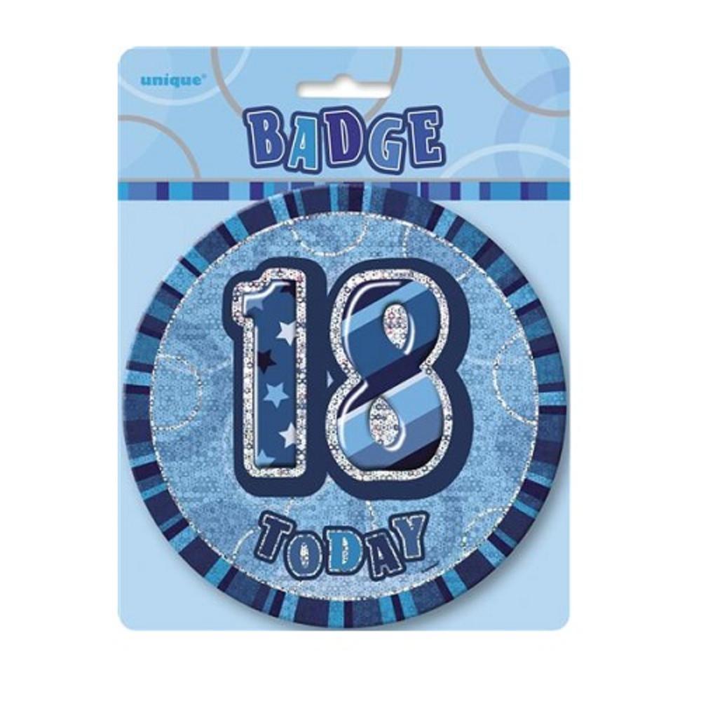 "Blue Glitz 18 Today 6"" Giant 18th Birthday Badge"