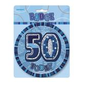 "Blue Glitz 50 Today 6"" Giant 50th Birthday Badge"