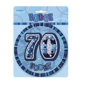 "Blue Glitz 70 Today 6"" Giant 70th Birthday Badge"