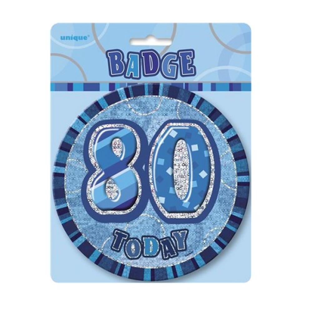 "Blue Glitz 80 Today 6"" Giant 80th Birthday Badge"