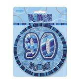 "Blue Glitz 90 Today 6"" Giant 90th Birthday Badge"