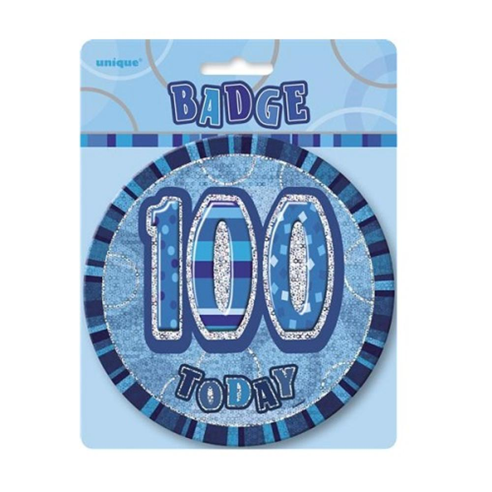 Blue Glitz 100 Today 6 Giant 100th Birthday Badge
