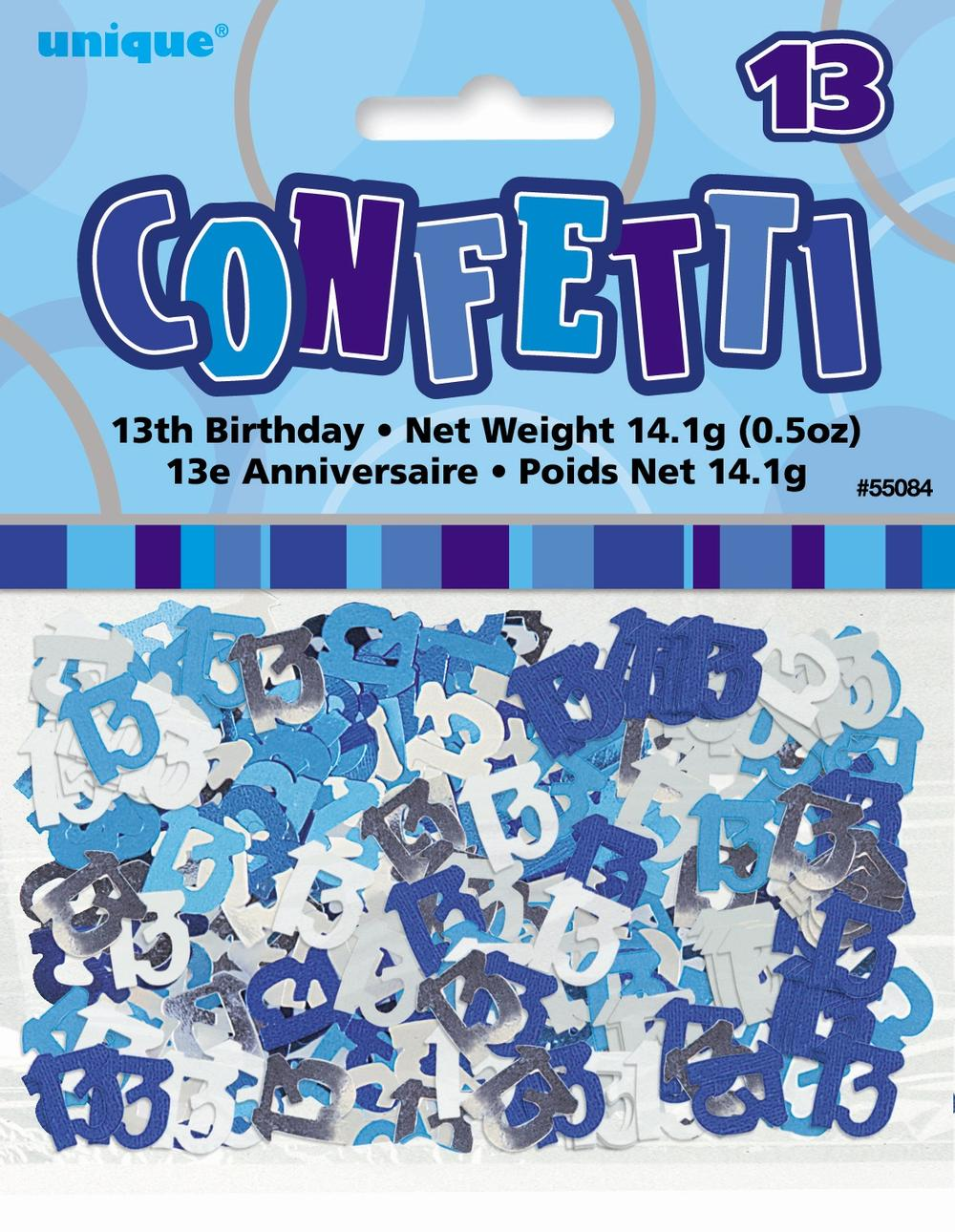 Blue Glitz Age 13 Birthday Table Confetti