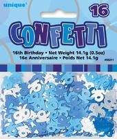 Blue Glitz Age 16 Birthday Table Confetti