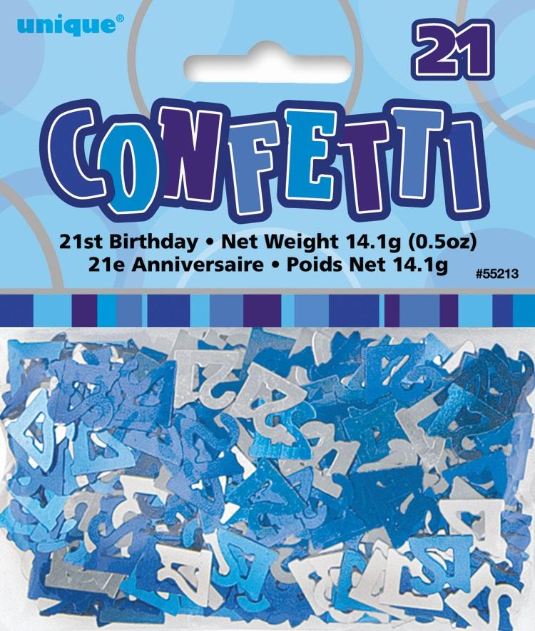 Sentinel Blue Glitz Age 21 Birthday Table Confetti 14 Gram Packet 21st Party Decorations