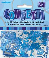 Blue Glitz Age 21 Birthday Table Confetti