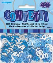Blue Glitz Age 40 Birthday Table Confetti