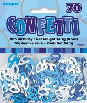 Blue Glitz Age 70 Birthday Table Confetti
