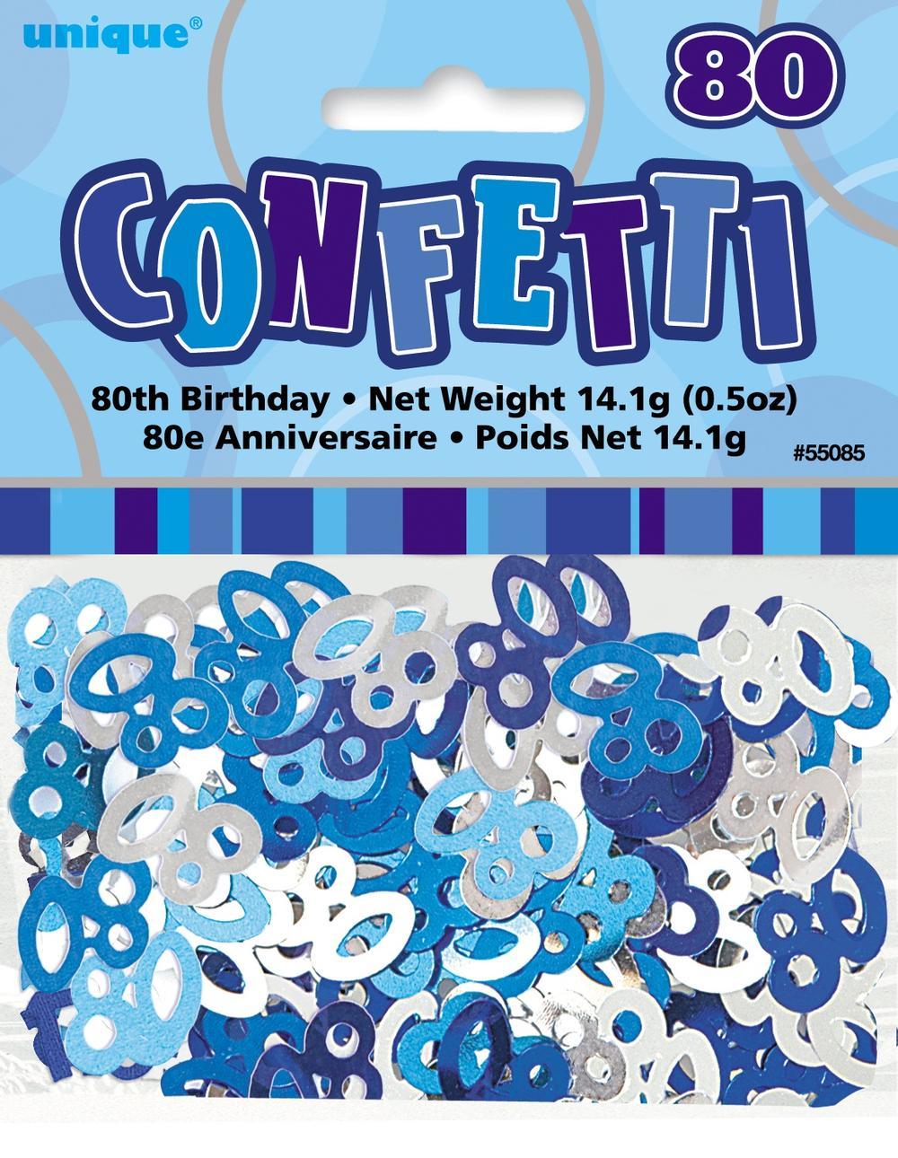 Blue Glitz Age 80 Birthday Table Confetti