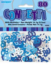 Blue Glitz Age 80 Birthday Table Confetti