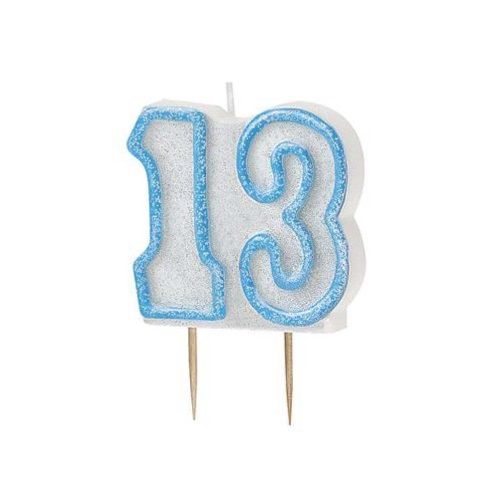 Blue Glitz Number 13 Candle 13th Birthday Cake Candles