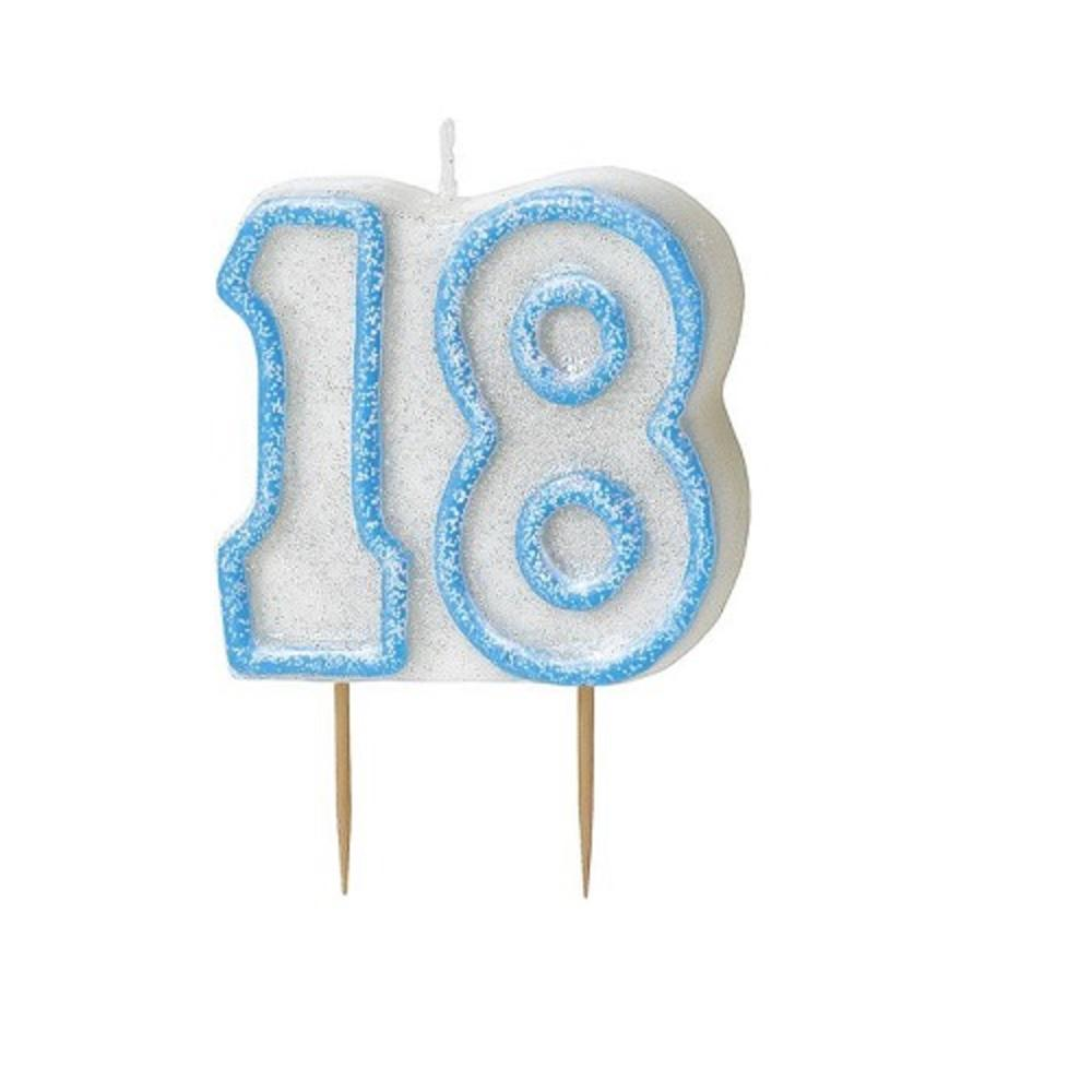 blue glitz number 18 candle 18th birthday cake candles