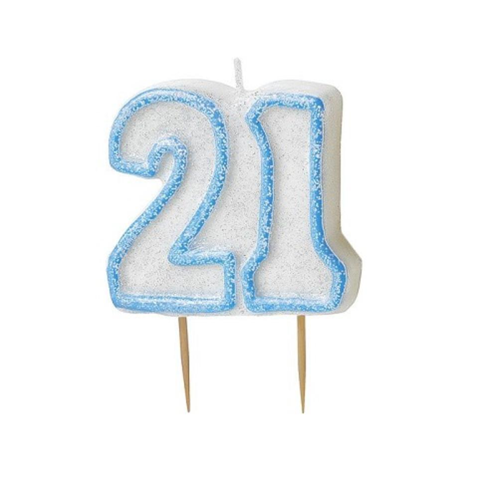 Blue Glitz Number 21 Candle 21st Birthday Cake Candles