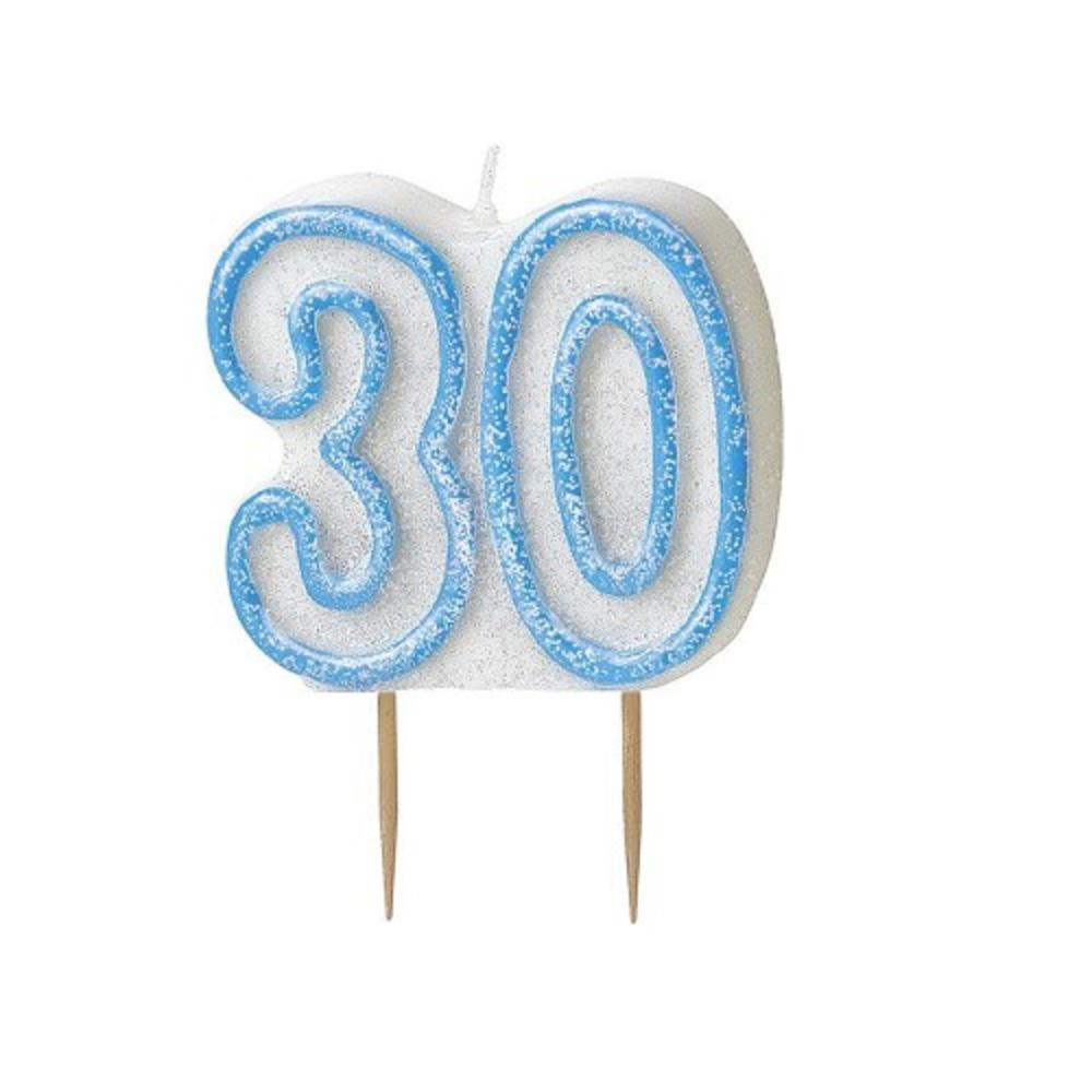 Blue Glitz Number 30 Candle 30th Birthday Cake Candles