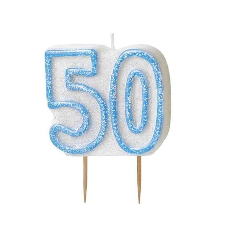 Blue Glitz Number 50 Candle 50th Birthday Cake Candles