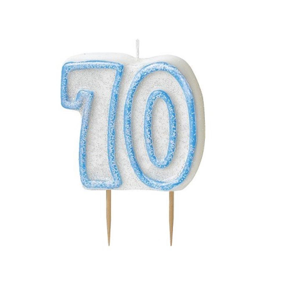 Blue Glitz Number 70 Candle 70th Birthday Cake Candles