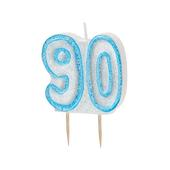 Blue Glitz Number 90 Candle 90th Birthday Cake Candles