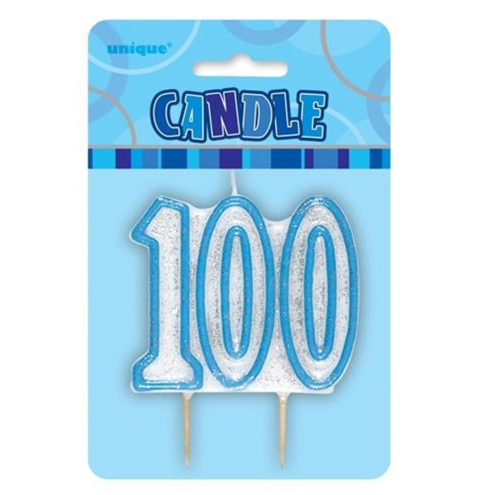 Blue Glitz Number 100 Candle 100th Birthday Cake Candles