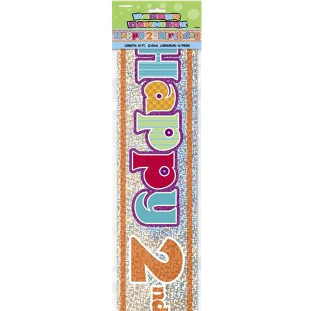 Happy 2nd Birthday 12ft Party Banner